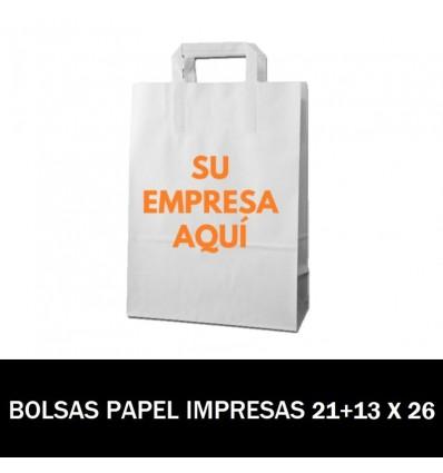 BOLSAS DE PAPEL IMPRESAS 21+13 X 26